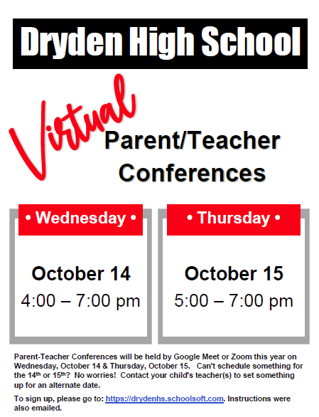 Dryden High School Virtual Parent Teacher Conferences Fall 2020